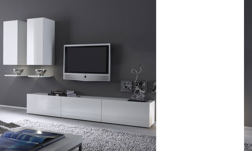 Meuble tv bas blanc laqu mobilier design d coration d for Meuble de tv blanc