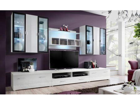 meuble tv long blanc laqu mobilier design d coration d 39 int rieur. Black Bedroom Furniture Sets. Home Design Ideas