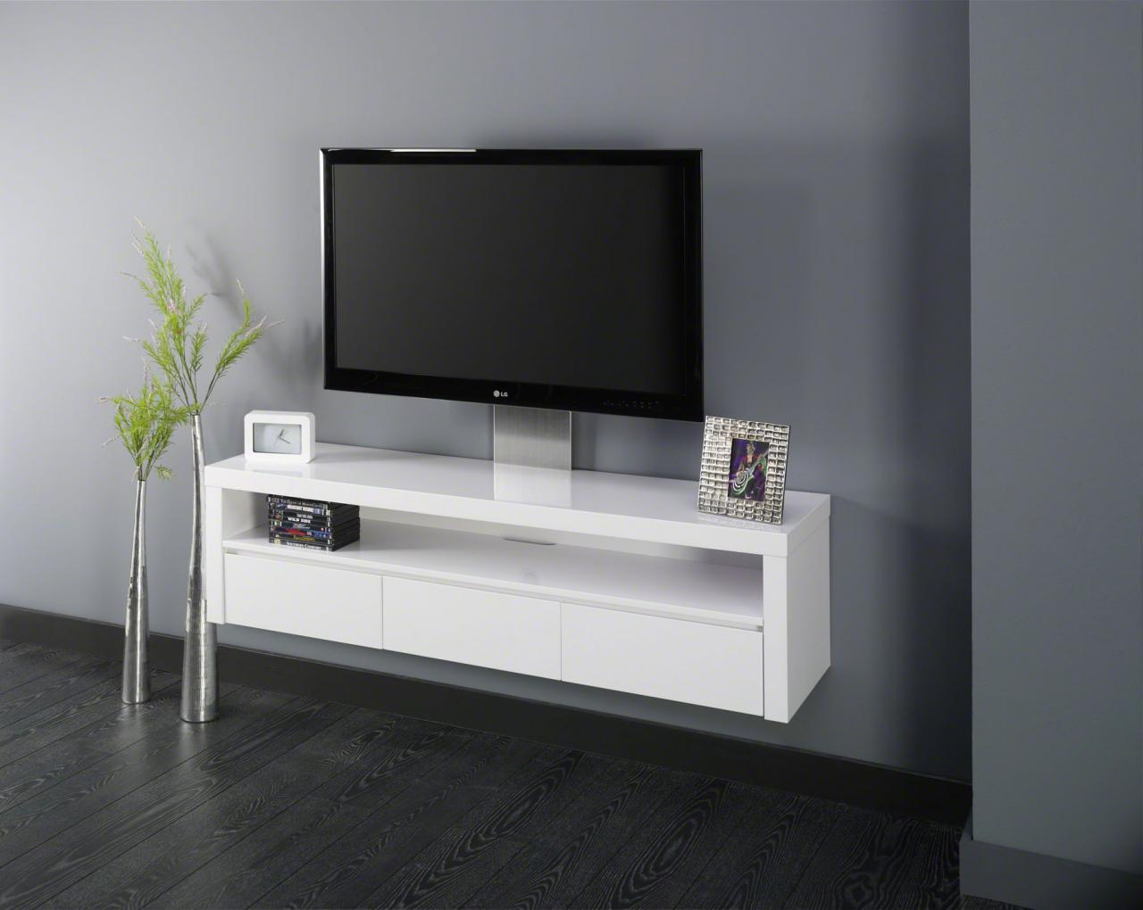 Meuble Tv 100 Cm Blanc Laqu Mobilier Design D Coration D Int Rieur # Meuble Tv Blanc Laque