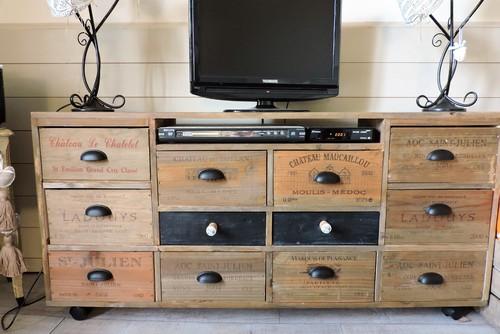 Meuble tv caisse de vin mobilier design d coration d 39 int rieur - Meuble tv caisse bois ...