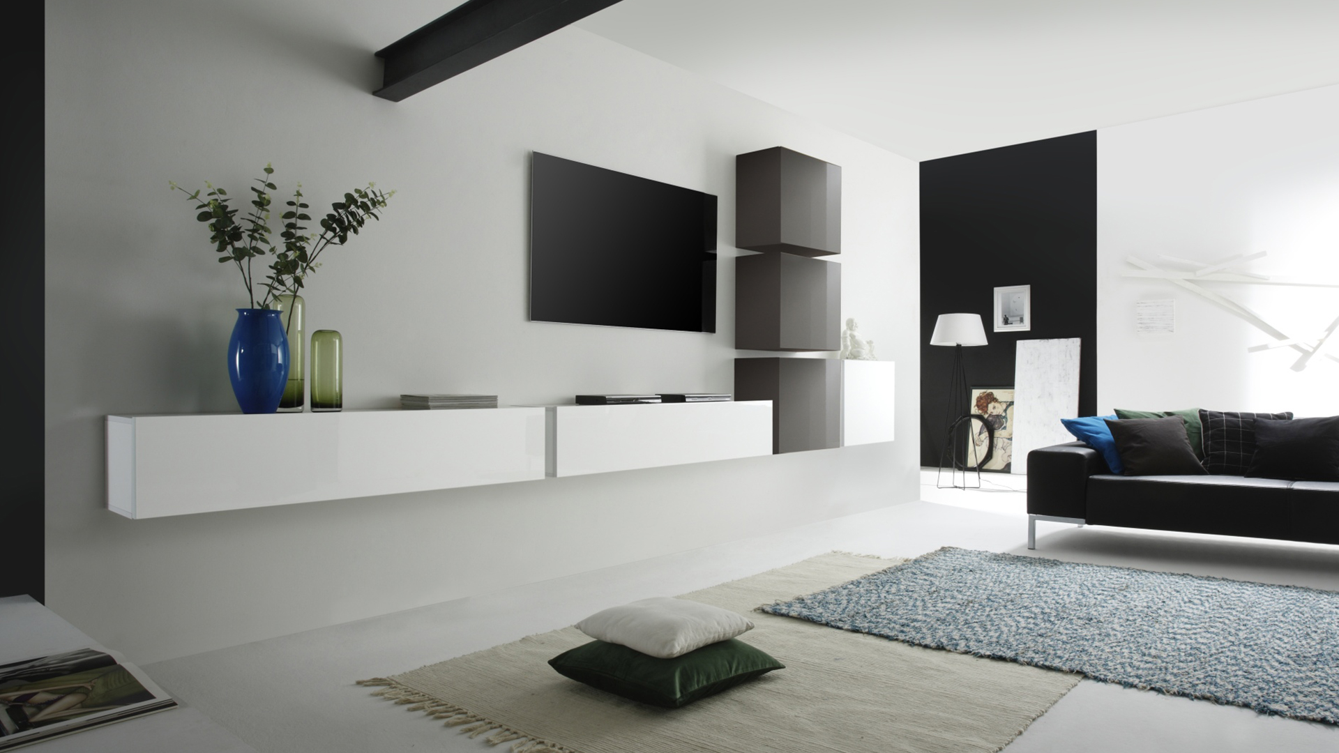meuble tv a accrocher au mur mobilier design d coration. Black Bedroom Furniture Sets. Home Design Ideas
