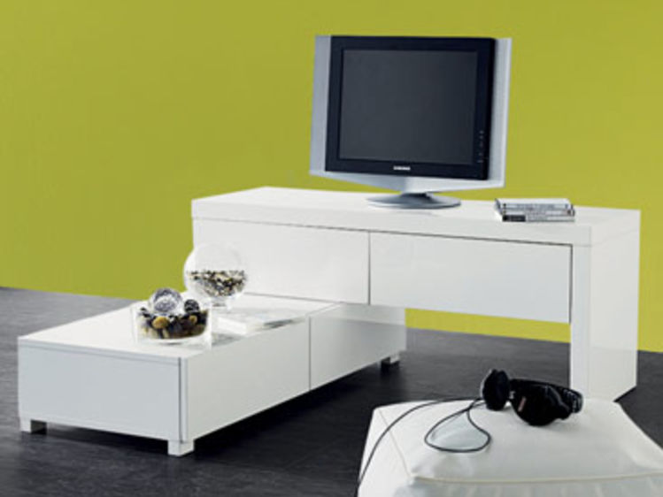 meuble tv modulable - Meuble Tv Blanc Laque Angle
