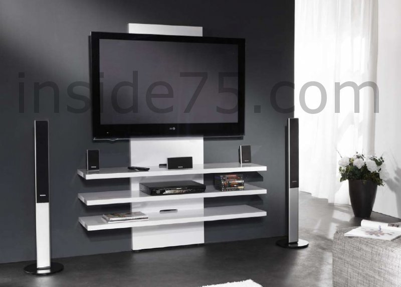 Meuble tv fix au mur mobilier design d coration d for Meuble tele a suspendre