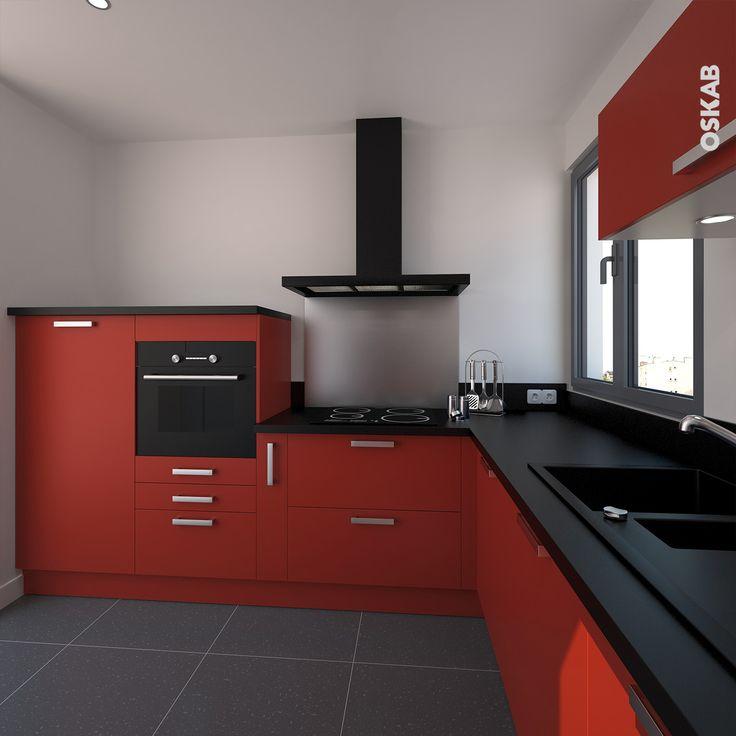 Meuble de cuisine rouge mat