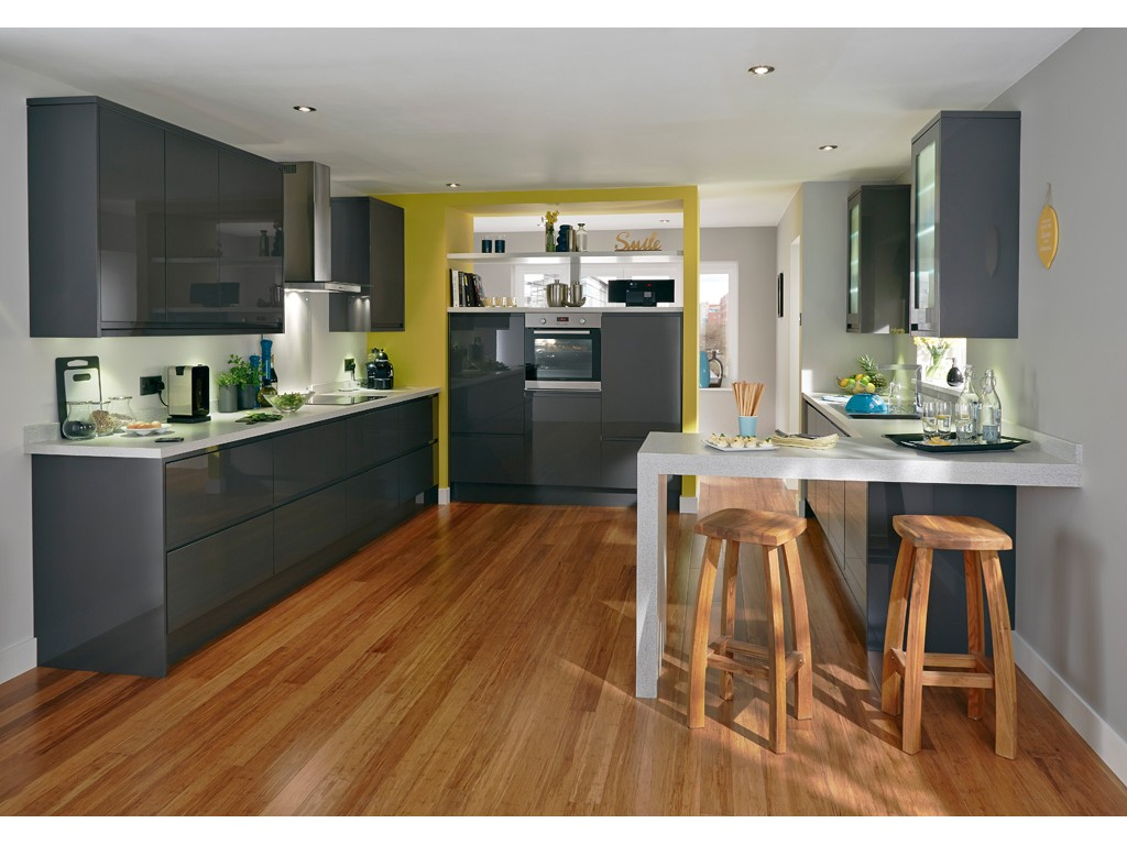 meuble de cuisine gris mobilier design d coration d. Black Bedroom Furniture Sets. Home Design Ideas