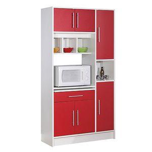 Meuble de cuisine rouge et blanc