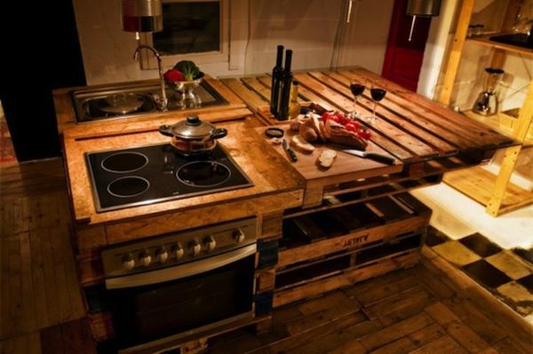 Meuble de cuisine fait avec des palettes - Mobilier design ...