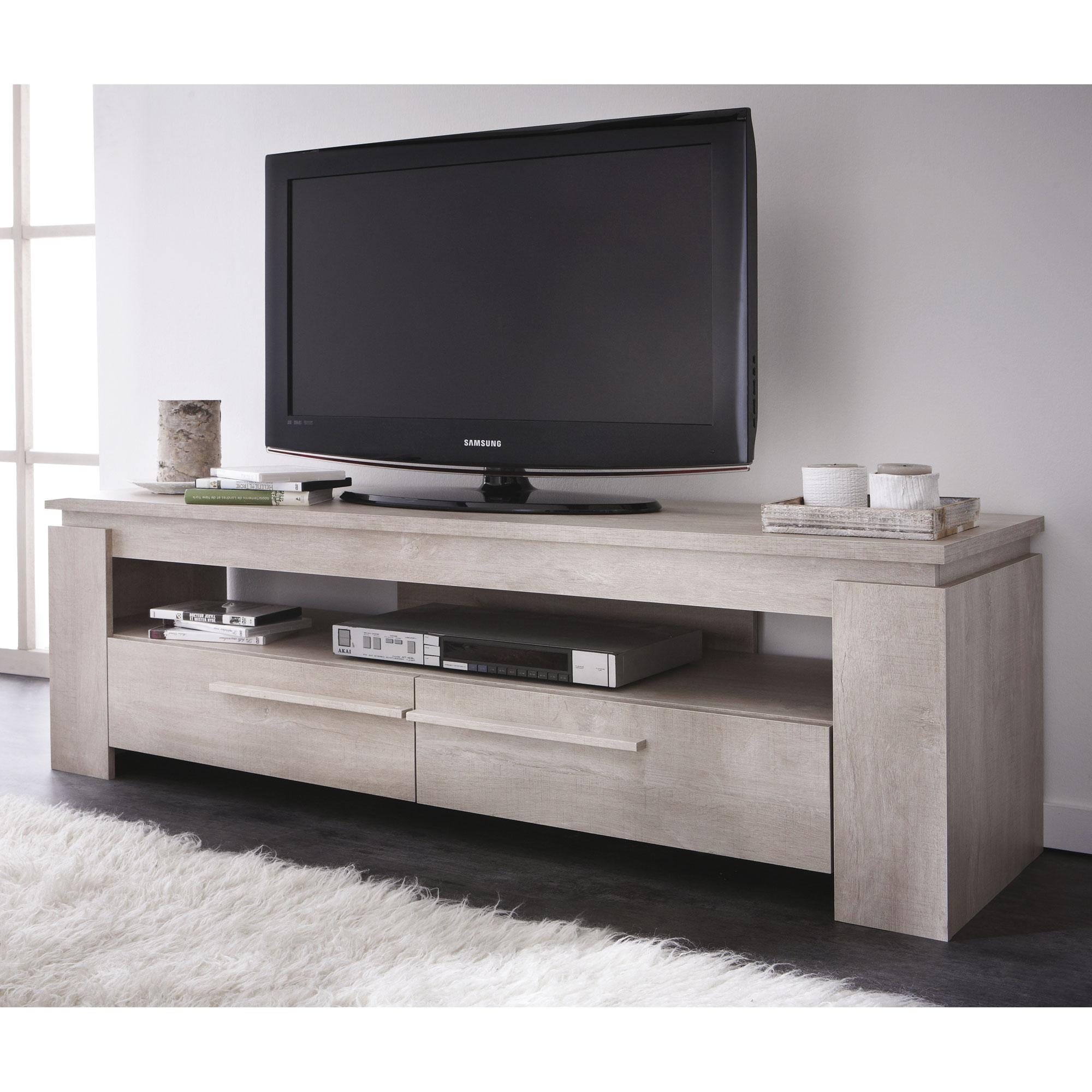Meuble tele bois et blanc mobilier design d coration d for Meuble bas tele