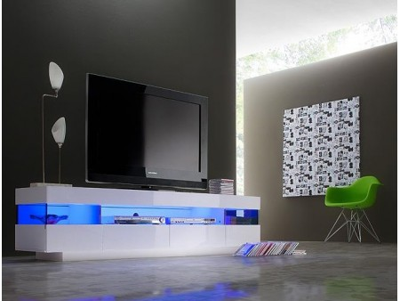 nouvelle arrivee 9bf02 621f2 Meuble tv 4 tiroirs avec led - blanc laqué - Mobilier design ...