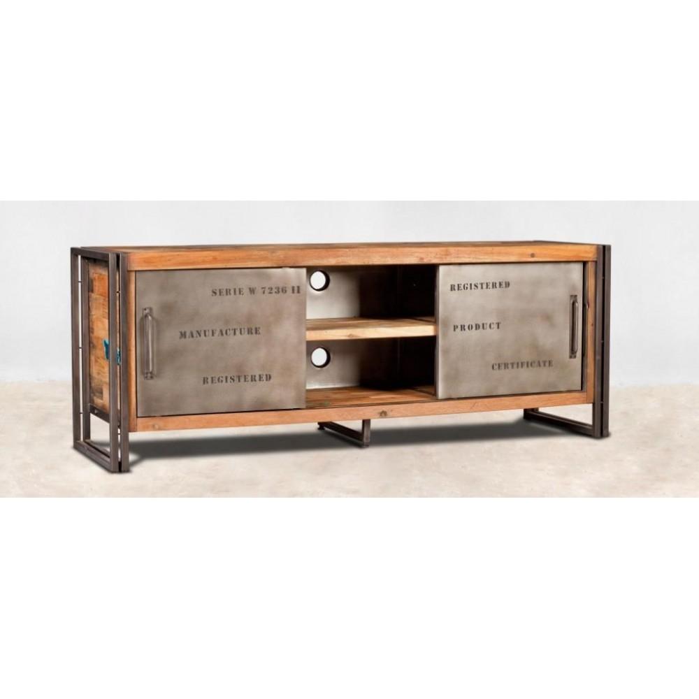 meuble tv bois recycle 2 portes coulissantes 160x60 caravelle Résultat Supérieur 50 Incroyable Meuble De Tele En Bois Image 2018 Ksh4