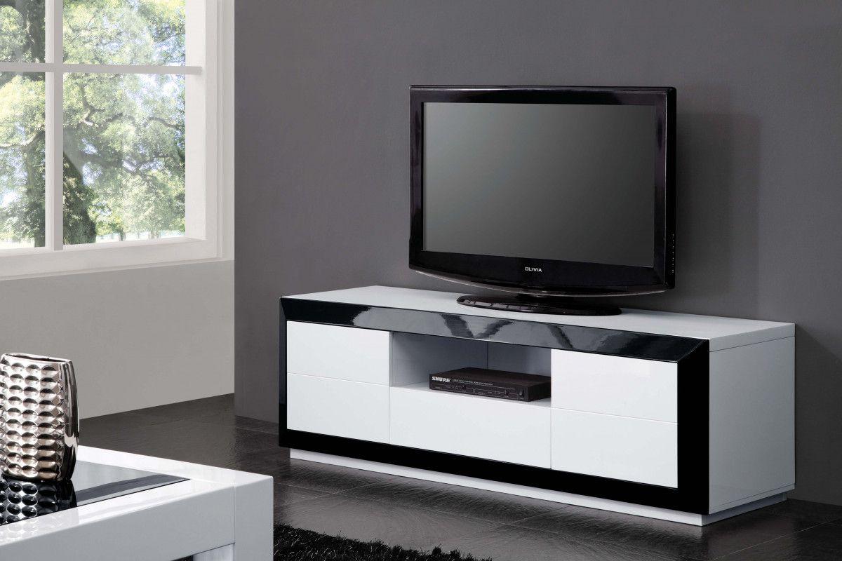 Meuble Tv Blanc Noir Mobilier Design D Coration D Int Rieur # Meuble Tv Design Pas Cher Blanc