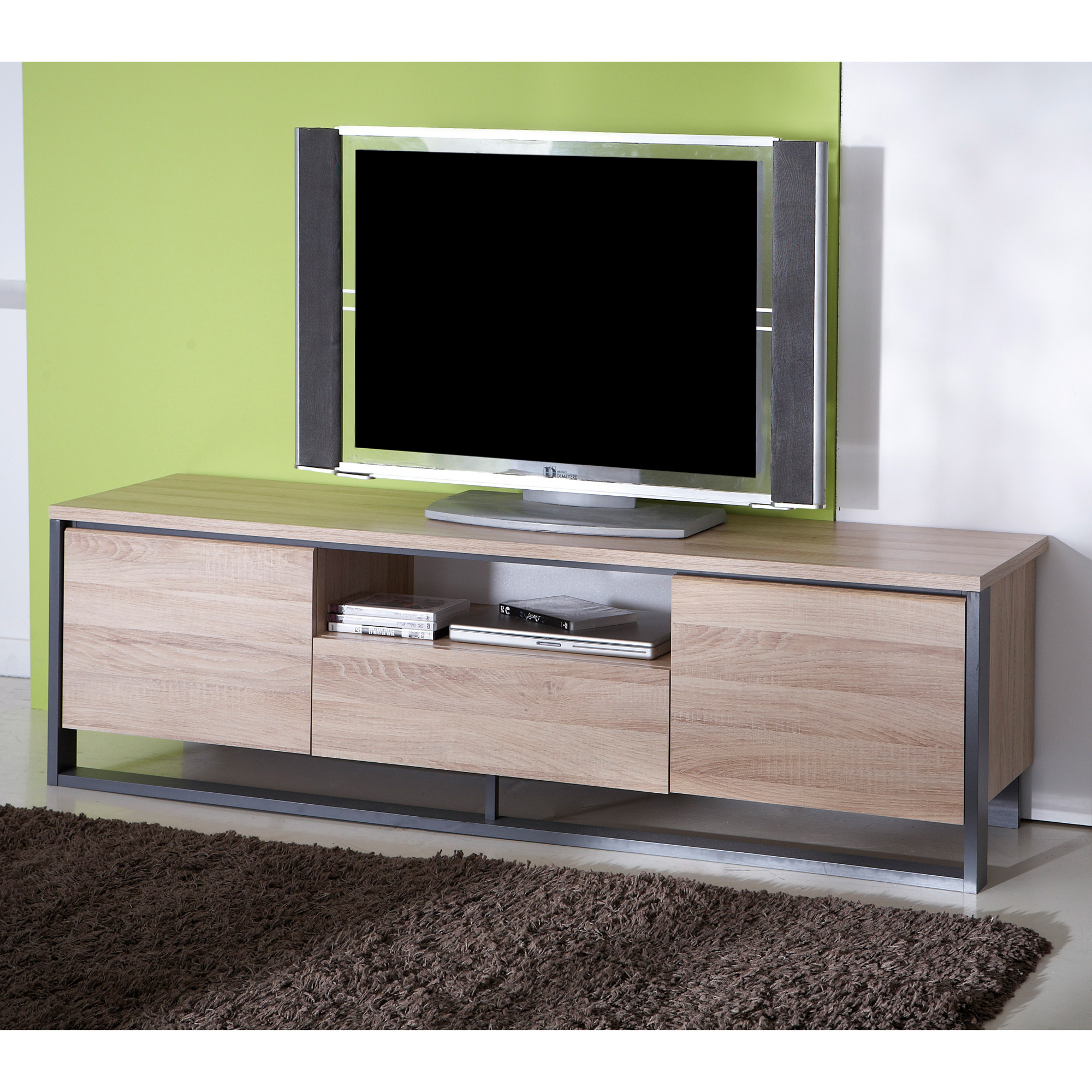meuble tv ferme par un tirroir. Black Bedroom Furniture Sets. Home Design Ideas