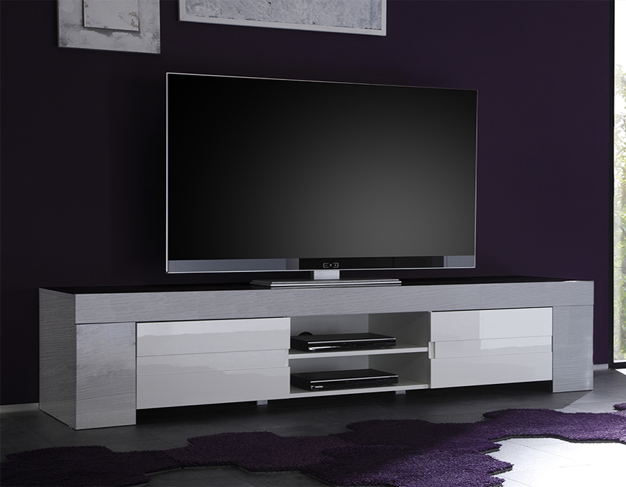 Meuble tv bois gris blanc mobilier design d coration d for Meuble tv long blanc