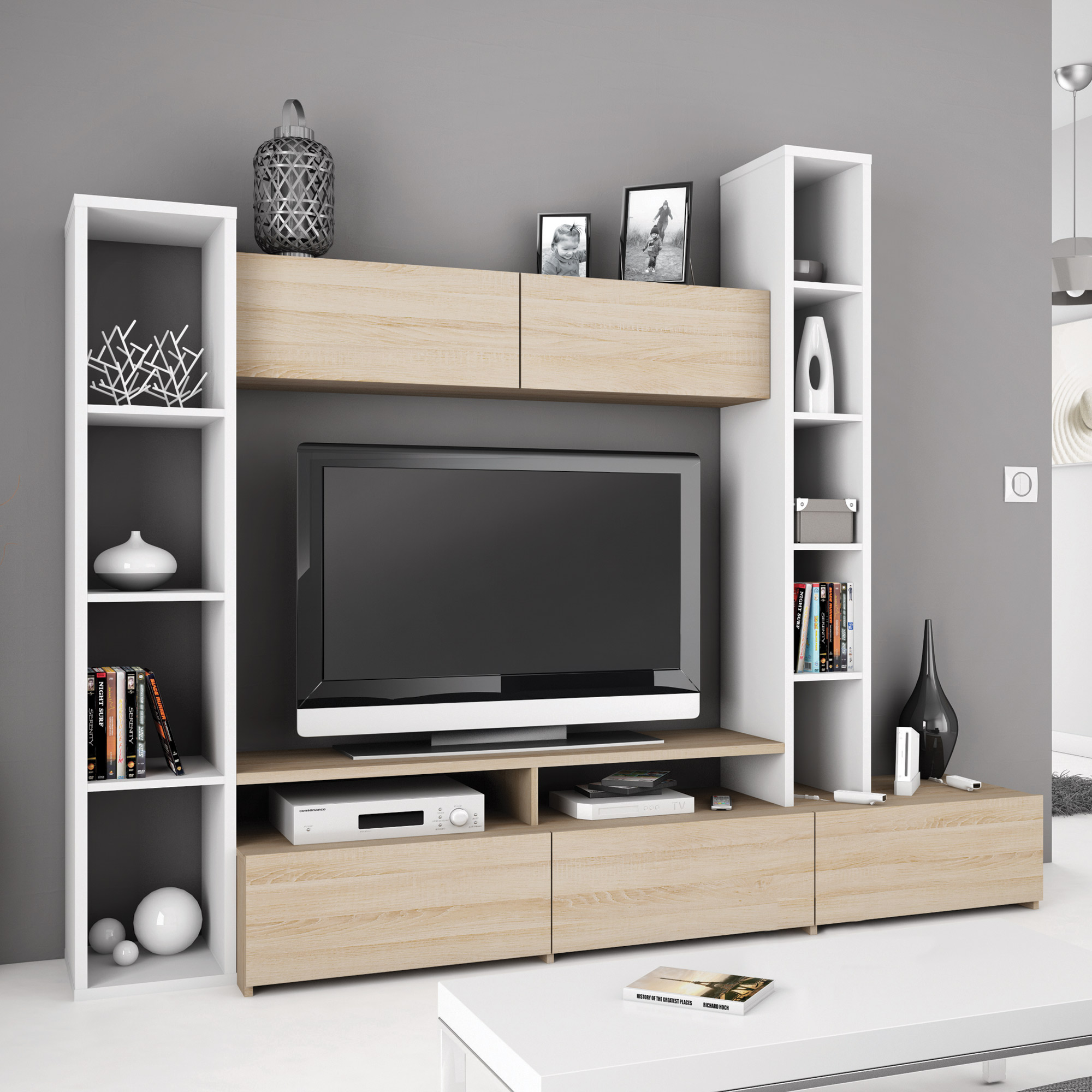 meuble tv blanc avec rangement mobilier design. Black Bedroom Furniture Sets. Home Design Ideas