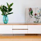 Meuble tv blanc plateau bois