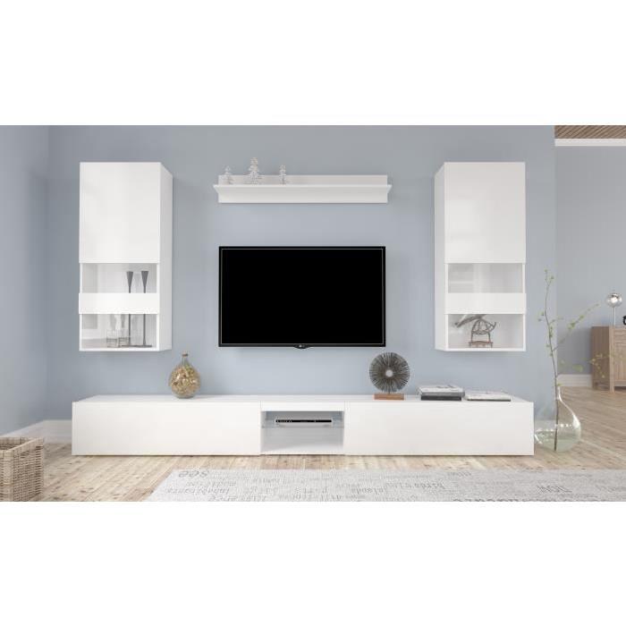 Meuble tv blanc laque cdiscount Mobilier design décoration d