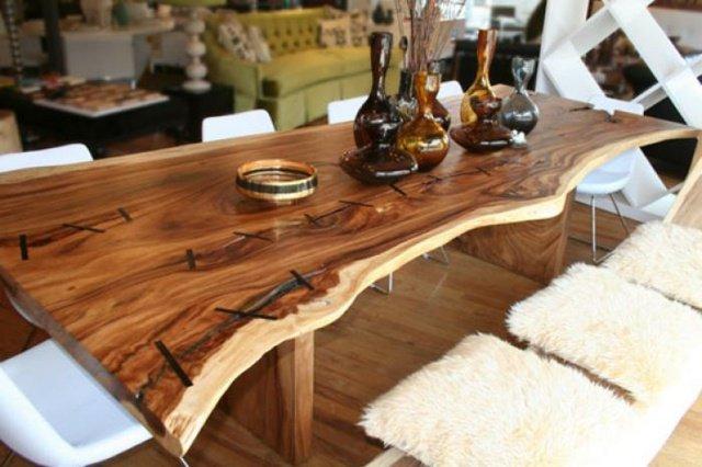 Table en bois brut mobilier design d coration d 39 int rieur - Table salle a manger bois massif ...