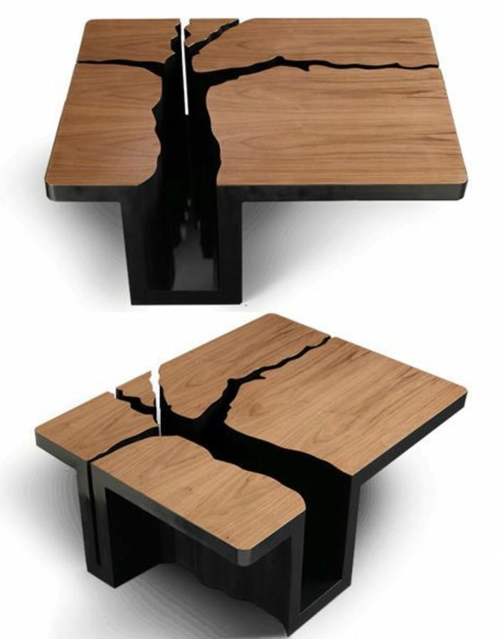 Table basse carrée bois design