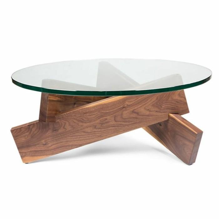 Table basse de salon en verre et bois