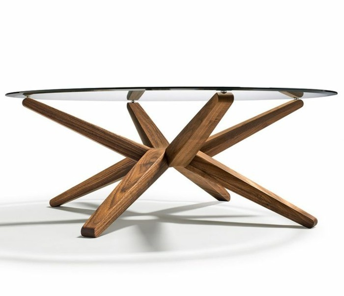 Table basse ovale bois verre