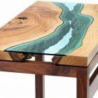 Table basse bois et plateau en verre