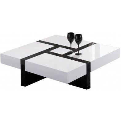 Table basse carrée noir et blanche