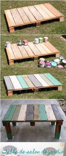 Table basse extérieure palette