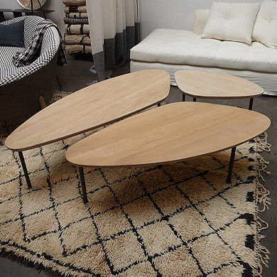 Table basse bois triangulaire