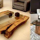 Table basse plateau bois brut