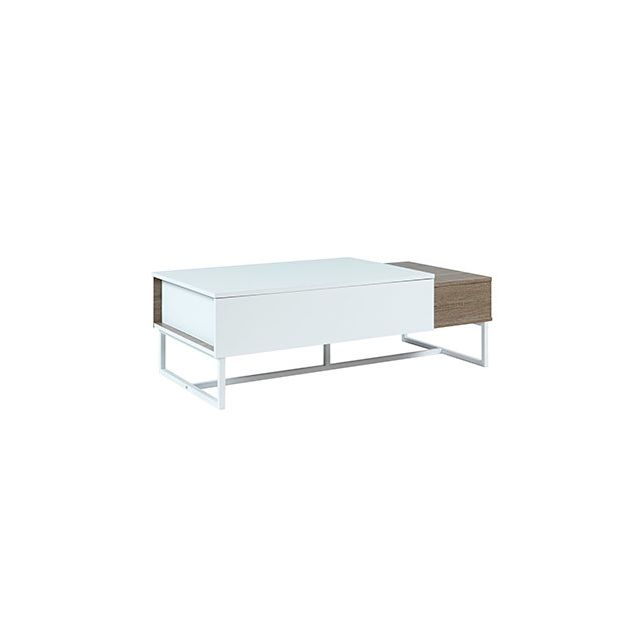 Table basse aldana - plateau relevable - bois & mdf - wengé et blanc
