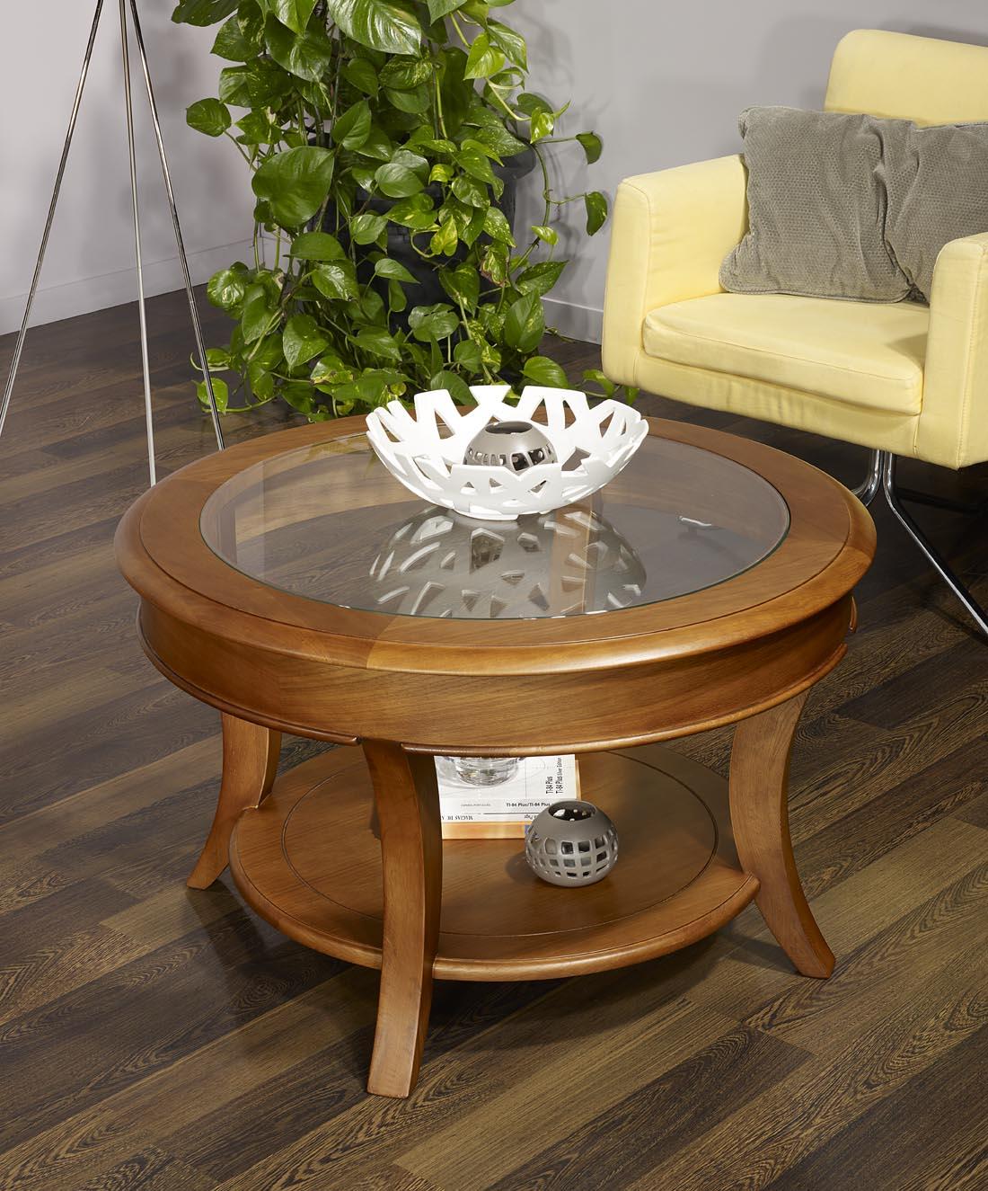 Table basse ronde en bois et verre