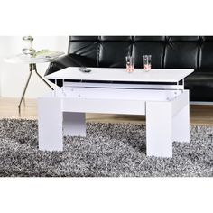 Kendra table basse transformable, plateau relevable - blanc