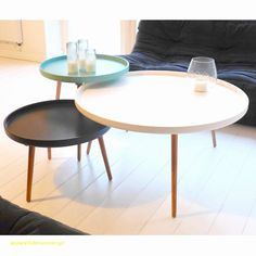 Table basse scandinave blanche ronde