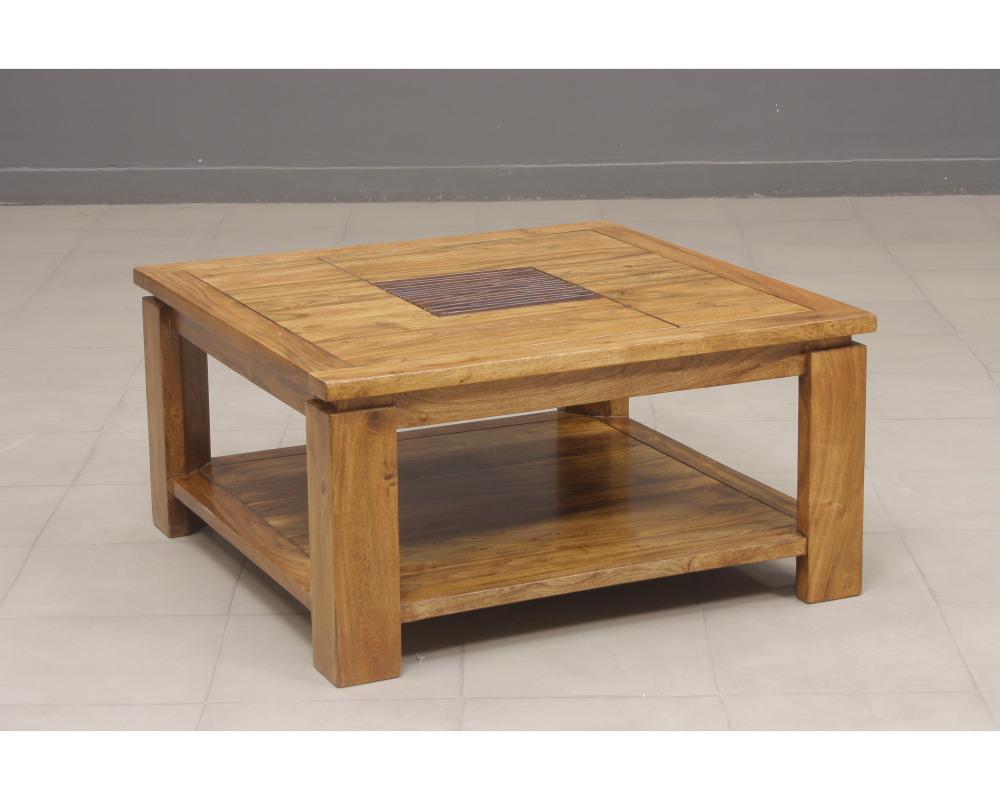 Table basse salon carrée bois