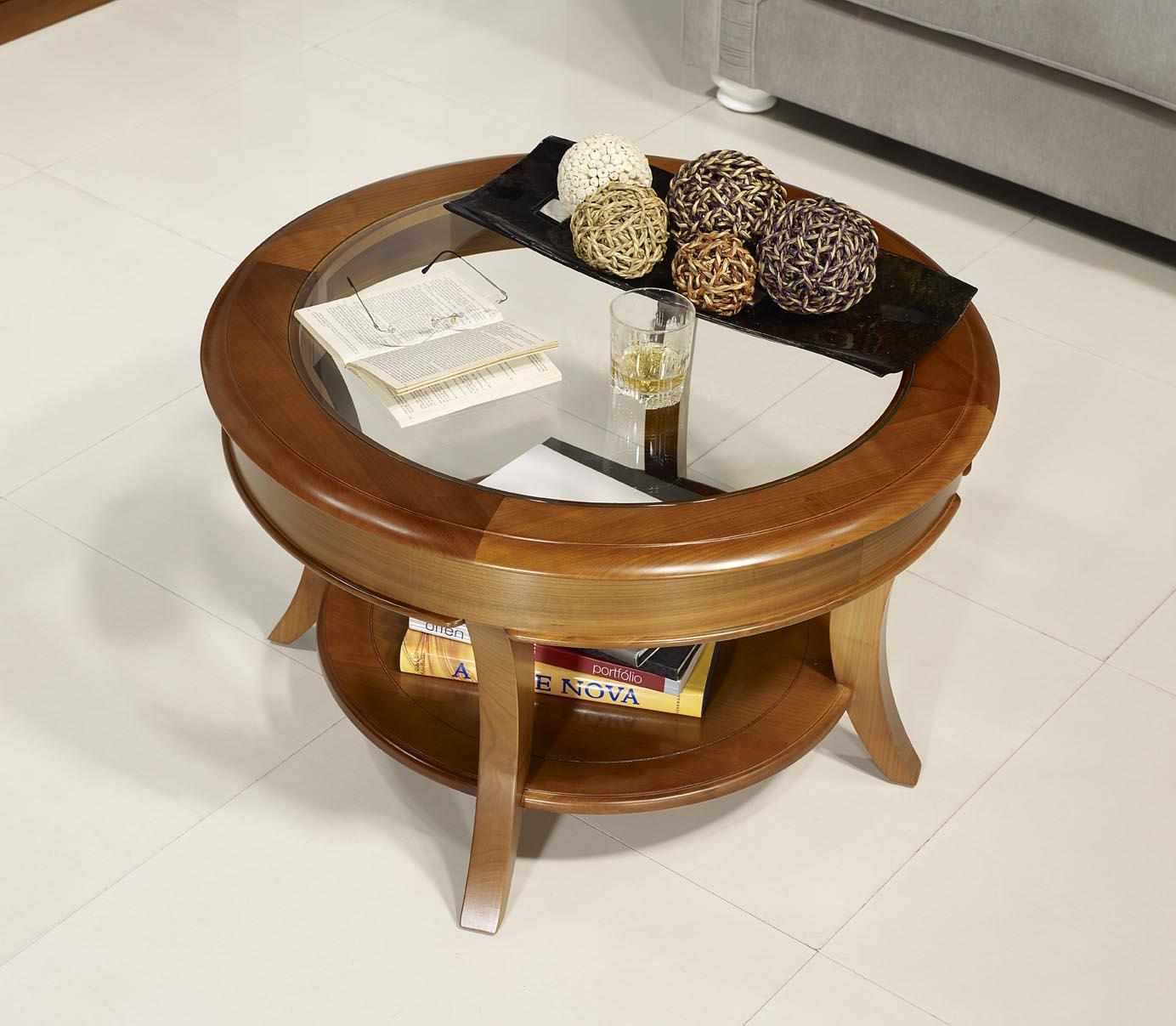 Petite table basse ronde bois brut