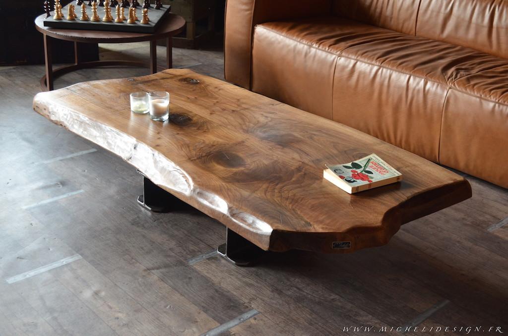 Table basse bois contemporain