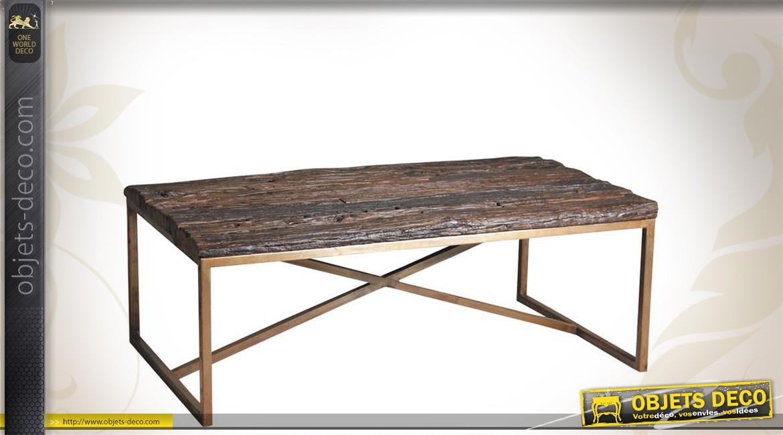 Table basse bois vieilli massif