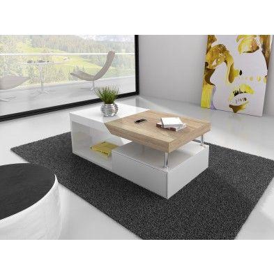 Table basse blanche et bois clair