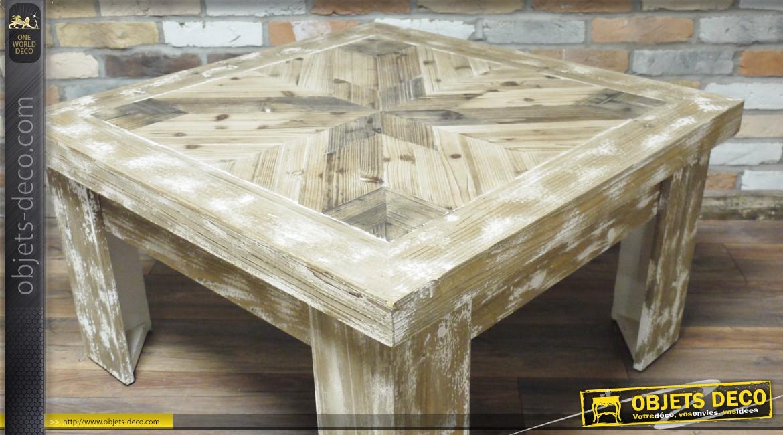 Table basse en bois vieilli