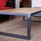 Table basse bois fer rectangle