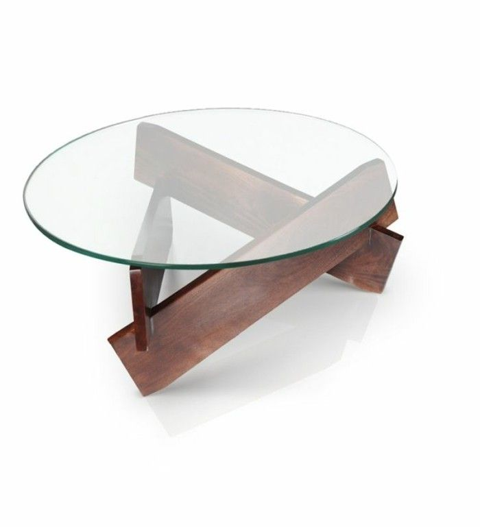 Table basse salon verre bois
