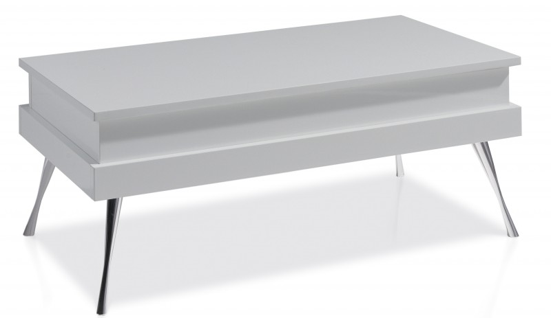 Table basse relevable chrome