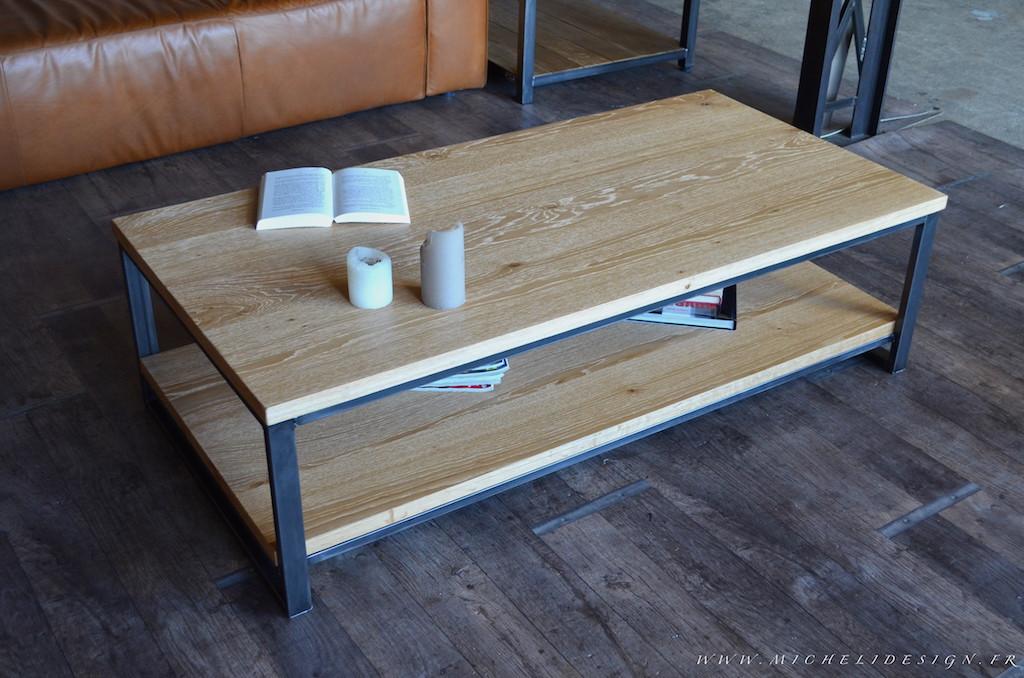Table basse bois acier industriel
