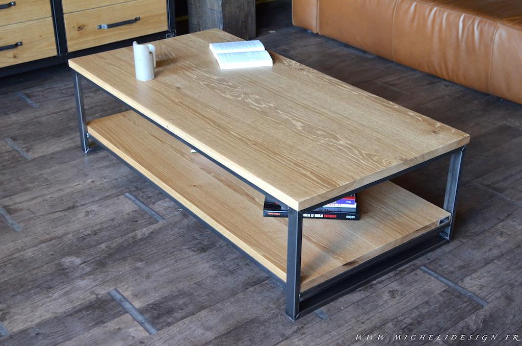 Table basse en bois 2 plateaux