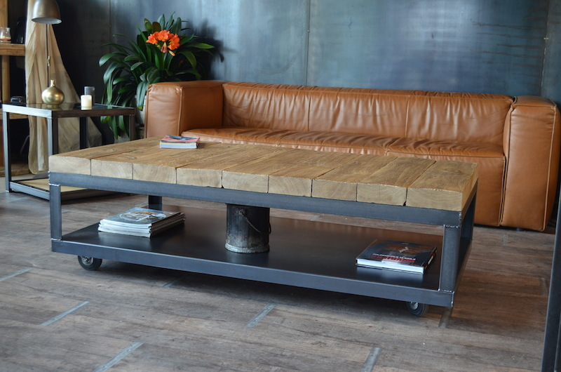 Table basse bois fer design