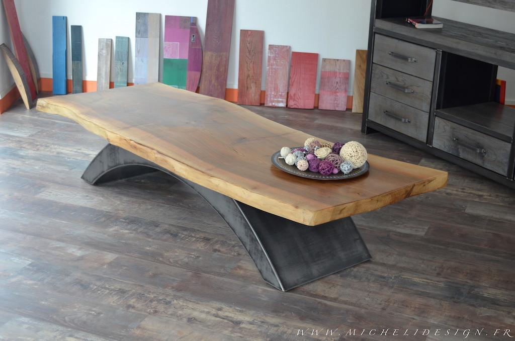 Table basse industrielle et bois