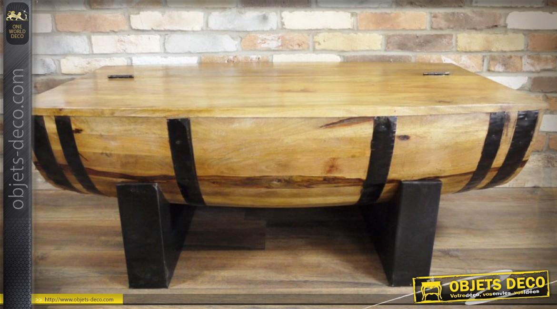Table basse bois metal coffre