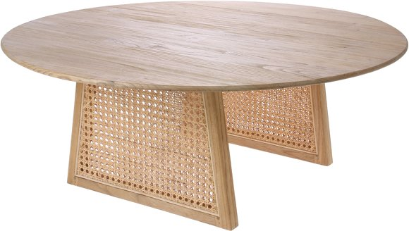 Table basse bois et rotin