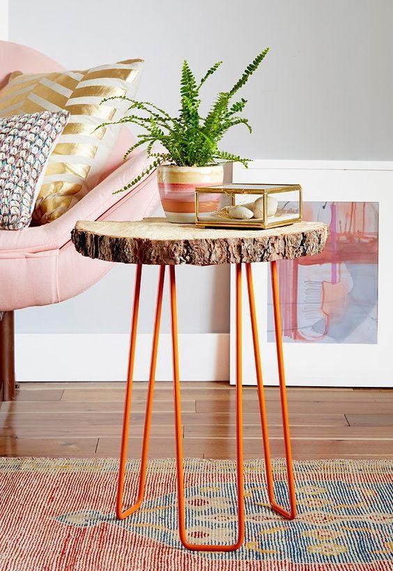 Table basse avec rondelle de bois