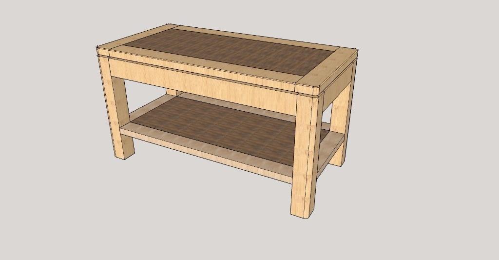 Table basse bois style industriel